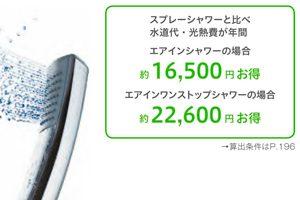 エアインシャワーで年間1万円以上も節水ができる!