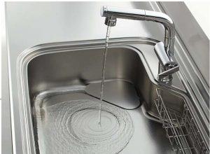 汚れづらくお掃除がとても簡単!「流レールシンク」