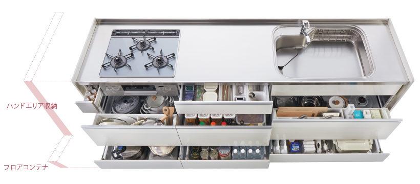 キッチン動線を考えた収納だから、調理道具の70%に手が届きます!